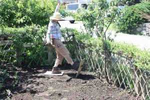 Katrina from EYA helps walk the flax seeds into the soil at the MOP bed
