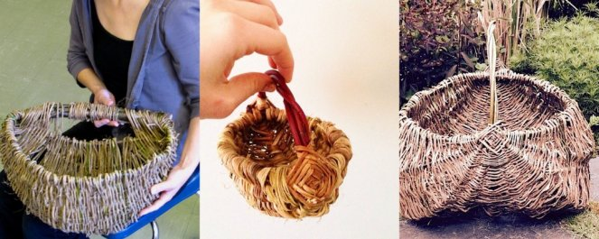 left: Rebecca Graham Bike Basket, centre: Chloe Hight small forage basket, right: Helen Shim large forage basket