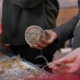 A ball of handspun linen for nets